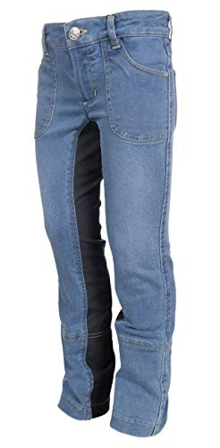 HKM Erwachsene Jodhpur Reithose -Santa Fe- Belmtex Vollbesatz6100 Hose, 6100 Jeansblau, 116