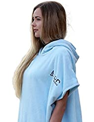 Cor Junta estante Surfing cambiador toalla albornoz con capucha, color azul claro, tamaño talla única