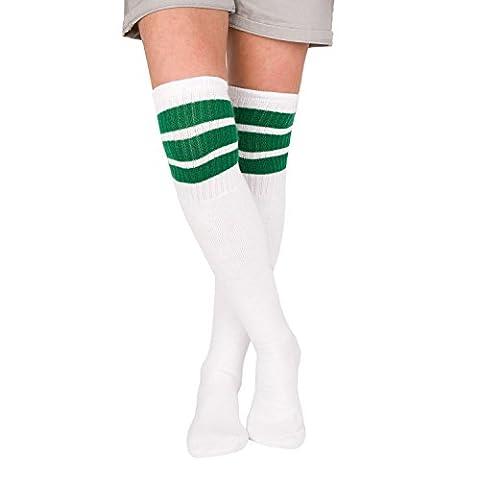 Skatersocks 30 Inch Tube Socken Overknee Kniestrümpfe weiß grün gestreift
