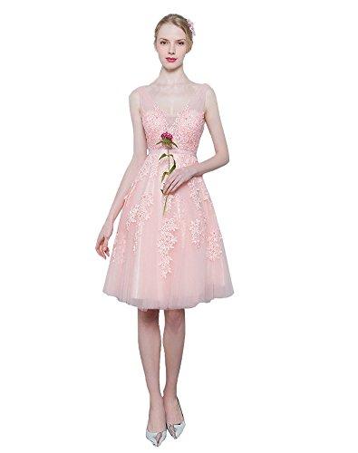 Erosebridal Kurz Abendkleider Formal Ballkleider mit Appliques Rosa