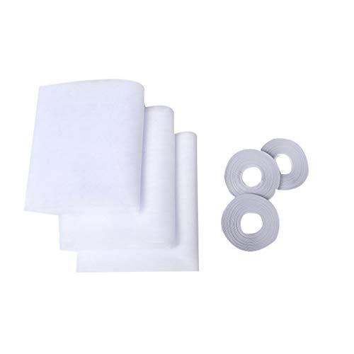 Ewendy Fenster Insektenschutz Netz 3 Packungen | 3 Rollen selbstklebend Tapes | Fly Bug Insekten Mesh Mosquito Protector Kit | 1,3 m x 1,5 m | weiß - Weißen Baldachin Kit