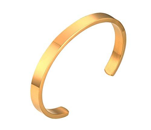 HIJONES Unisex Edelstahl Gold Armreif Armbänder für Paare Einfache Stil Breite 6mm