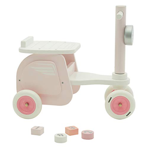 labebe Baby Pink Stylish Wooden Ride On Bike Motorcycle Shaped Balance Bike No Pedal 4 Wheels Push & Pull Toy for Children Toddler 1-3 Years Indoor Outdoor …