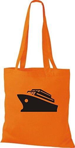 JUTA Borsa di stoffa CROCIERA, Nave, Nave passeggeri Arancione