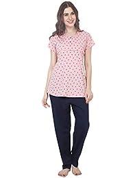 ZEYO Women's Cotton Green & Pink Feeding Night Suit | Nursing Night Dress with Floral Print | Breastfeeding Night wear| Half Sleeve Baby Feeding Top and Pyjama Set