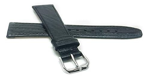 Extra long (XL), 18mm de large, FIN, Noir Semi-Glossy, cuir véritable Bracelet de montre, EST également disponible en Marron, brun clair et vert