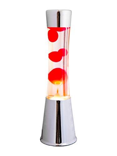 FISURA Lampe à Lave Chromée 40cm Liquide Transparent Rouge Magma. Métal et cristal ...