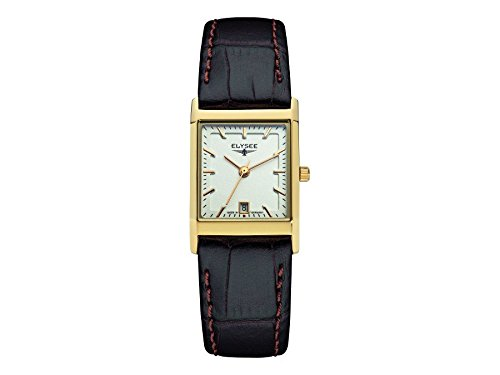 ELYSEE Women's Square Lady Black Leather Band Gold Plated Case Quartz Silver-Tone Dial Analog Watch 83807L
