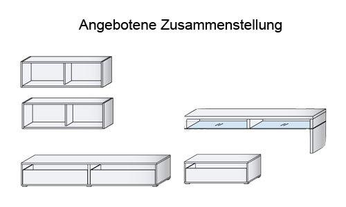 Anbauwand 5-tlg. CS Schmal Weiß und Congo-Grau, bestehend aus 2 Hängeregalen, 2 TV- Schränken mit insgesamt 3 Schubladen, 1 TV-Glasteil mit Fächern - 2