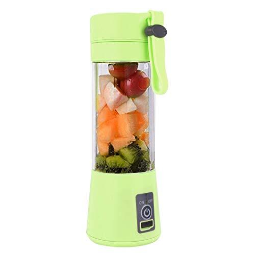 USB Slow Juicer Mini Elektrisch Saftpresse Entsafter für Obst und Gemüse Elektro Fruchtpresse Rücklauffunktion Handheld Smoothie Maker Saft Tasse einen nährstoffreichen Saft 380ml (6 Klingen, Grün)