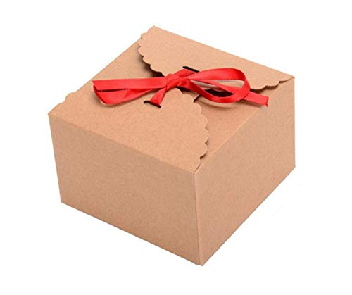 10 Stücke Kraftpapier Platz Boxen mit Seidenband Handgemachtes Geschenk Verpackung Boxen Süßigkeiten Keks Container Fällen für Weihnachten Neujahr Geschenkverpackung
