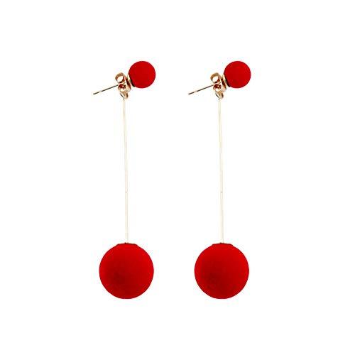 UINGKID Ohrstecker Mode Einfache Stilvolle AttraktiveMode plüsch ball ohrringe für frauen persönlichkeit runde quaste langen ohrring -