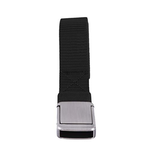 SEVENHOPE Damen Herren Canvas Weave Gürtel Glatte Flache Schnalle Bund Casual Business Gurtband (schwarz) - Leinwand Gurtband