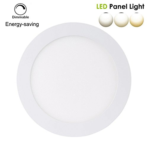 B-right LED Panel Light, 12W 6-inch, Dimmable, Ultra-thin Round Flat Light, LED Recessed Light, 80W Incandescent Equivalent, Warm White(3000K), 220V, Hole Size 155MM, LED Recessed Lighting for Home, Office, Commercial Lighting