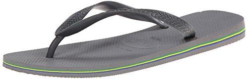 Havaianas Men's Brazil Flip Flop, Steel Grey, 43/44 BR 10/11 M US