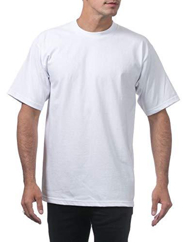 Pro Club Herren T-Shirt aus Schwerer Baumwolle, kurzärmelig, Rundhalsausschnitt - Weiß - XXX-Large Hoch -