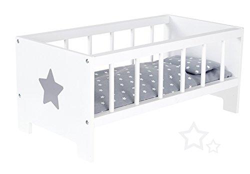 Puppenbett Sternchen aus Holz Bett Stern Holzbett Gitterbettchen (Weiß-Grau)