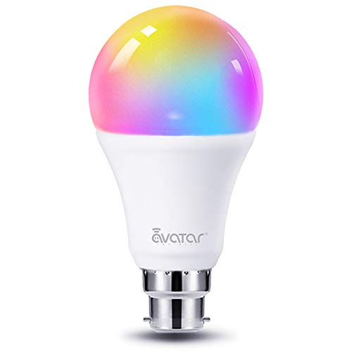 WiFi Smart Bulb Alexa Light Bulbs B22 Bayonet 8W RGBCW Colour Dimmable Works with Ale xa/Google Home =70W 800LM by Avatar Controls, No Hub Required(Updated 3000-6200K,1Pack)