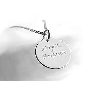 Moderne Namenskette für Frauen, 925 Silber, Runder Kleiner Anhänger mit Dezenter Gravur, Silberkette