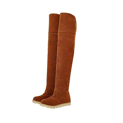jeansian Moda Sopra il Ginocchio Scamosciato Scarpe Stivali Boots Shoes WSB049 Yellow 38