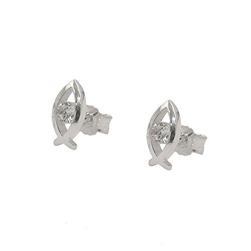 Ohrstecker Ohrringe Ohrschmuck, Fisch-Symbol mit weißen Zirkonia, 925 Silber (Ohrringe Fisch)