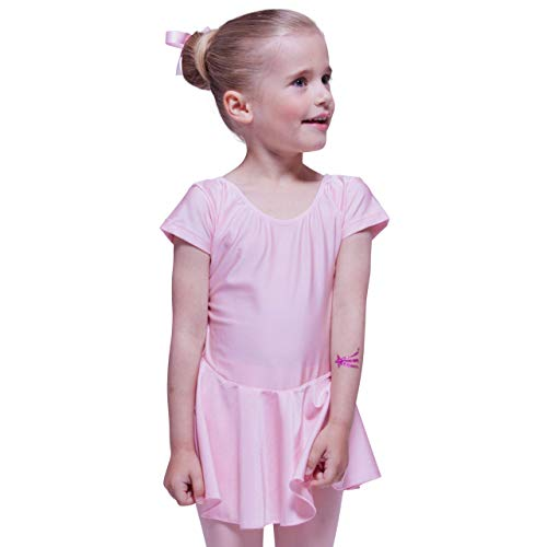 tanzmuster Kinder Kurzarm Ballett Trikot Marina mit Röckchen aus glänzendem Material in hellrosa, - Ballett Kostüm Material