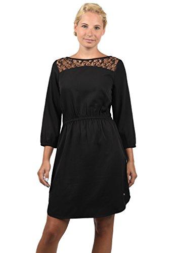 BlendShe Amora Damen Blusenkleid Lange Bluse Kleid Mit Rundhals-Ausschnitt Und Spitze, Größe:XXL, Farbe:Black Solid (20101) Armee-trenchcoat
