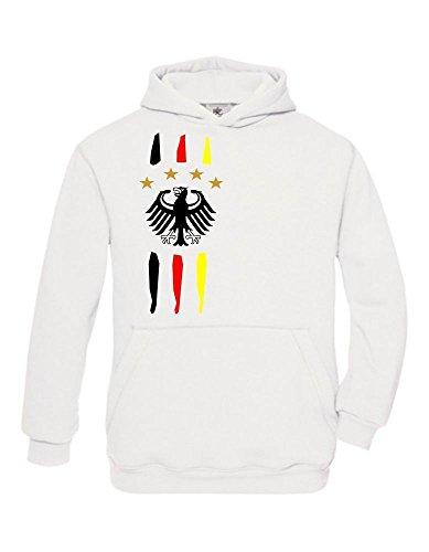 Deutschland Kinder Fußball Trikot mit Deinem NAMEN + NUMMER ! Hoodie Sweatshirt mit Kapuze Gr.140-152 (Stolz Kinder Sweatshirt)