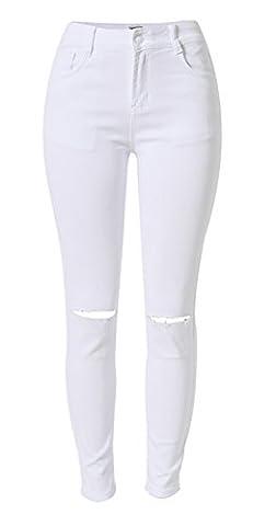 Tribear Damen Hight Waist Jeans Hose Röhrenjeans mit Riss Knie Destroyed Hose (XS/32, Weiß)