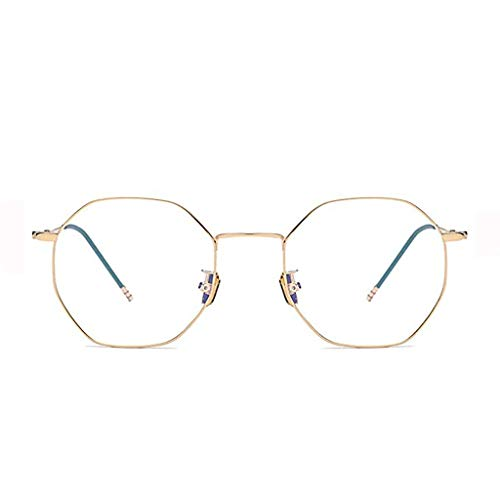 Glücklich zusammen Anti-Blu-ray Flache Brille Brille Weibliche Mobile Computer Brille Polygon, Augenschutz (Color : Gold)