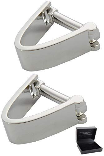COLLAR AND CUFFS LONDON - Hochwertige Manschettenknöpfe mit Geschenk Box - Wrap Around - V Design - Stilvolle Messing - Silber Farbe