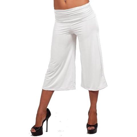 Pantaloni donna casual tropicali tinta unita vita bassa al ginocchio