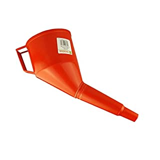 Angled Fuel Funnel with fine mesh Filter and Handle, Doesn't Require Two People to use! (Red)