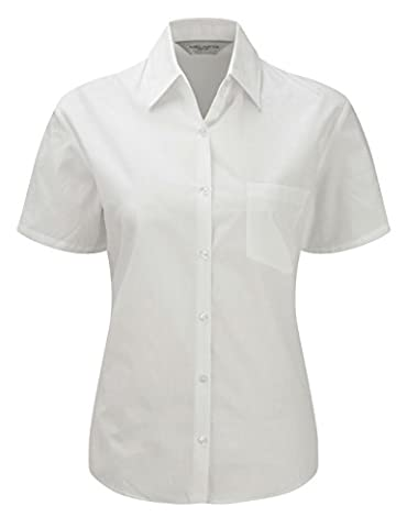 Russell''s ladies S/Slv 100% Cotton Poplin Shirt in White Size S / 10