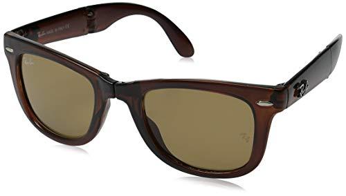 RAYBAN Unisex Sonnenbrille Folding Wayfarer Braun (Gestell: Havana, Gläser: Hellbraun Verlauf 710)), Large (Herstellergröße: 54)