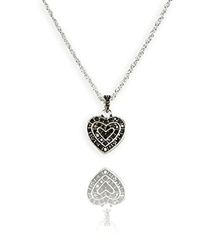 Antique Silver Heart Necklace with Black Grey Crystals for Women