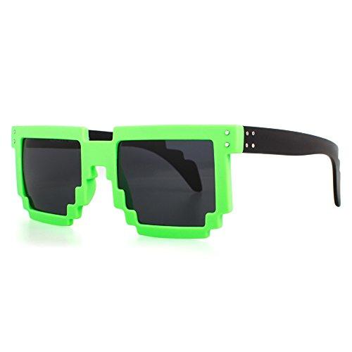 Distressed Pixel Sonnenbrille im Retro Stil 70er 80er (neongruen-schwarz)