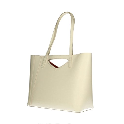 Chicca Borse Borsa a tracolla in pelle 40x38x14 100% Genuine Leather Beige