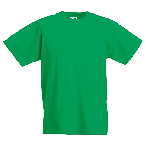 New Fruit of the Loom Childrens Kids Value Cotton T Shirt Kelly Green 5/6