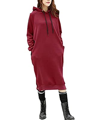 Kidsform Womens Hoodie Jumper Dress Ladies Hoodies Jumper Dresses Long Hooded Sweatshirt