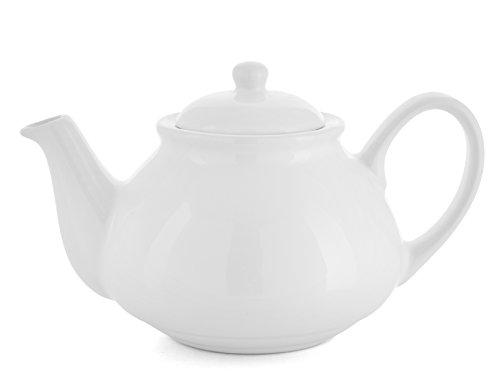H&h teatime teiera, ceramica, 1 l , bianca