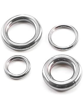 Treuheld® | SEGMENTRING Silber - 33 große Größen: 2, 2.5, 3, 4, 5, 6 mm - Piercing-Ring - Segment entnehmbar -...