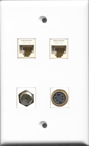 RiteAV 1Port Koax-Kabel, Accessoires F 1Port S CAT6Netzwerkkabel (2Anschlüsse, Weiß Wall Plate -