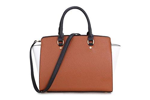 LeahWard sac de femme Sacs à main femme Styliste modéliste Celebrity Sac cabas en qualité simili cuir sac porté main avec Long Strap CWJM435 A-Marron