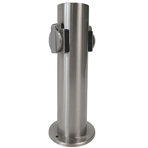 Steckdosensäule aus Edelstahl mit 2 Steckdosen IP44 Steckdosenleiste für Außen wetterfeste Steckdose perfekt für den Garten Stromversorgung -