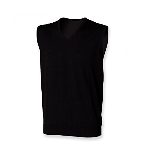 W724 Men´s Sleeveless V-Neck Jumper Pullunder Black