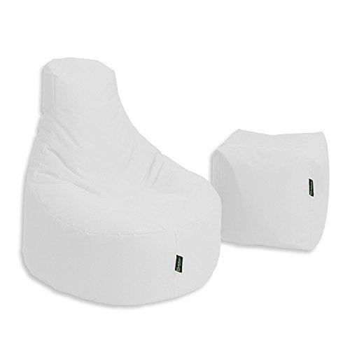 BuBiBag Sitzsack Stillkissen Set Kissen Lounge Gamer Sitzsack Sessel original Sitzkissen In & Outdoor geeignet fertig befüllt in 32 Farben (weiß)