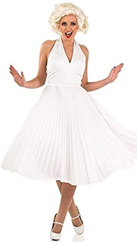 Ladies Sexy White 1950s Film Star Celebrity Icon Iconic Beauty Model Actress TV Glamours Fancy Dress Costume (UK