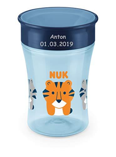 NUK Magic Cup, Trinklernbecher mit persönlicher Gravur, 230ml, ab 8 Monaten, Tiger (blau)