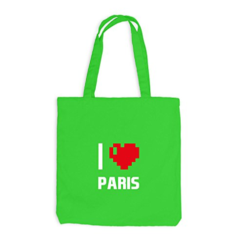 Jutebeutel - I Love Paris - Frankreich Reisen Herz Heart Pixel Hellgrün